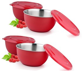 Shubh Shop  4pcs Red Micro Safe Bowl