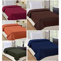 Peponi Pack of 5 Solid Color Single Bed Super Lite Fleece Blanket (54X90)inch