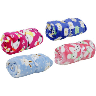 Aarushi Unisex All Season Baby Blanket For Infant/ Born Baby (Set Of 4) Print May Very