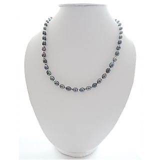 Dyed Black Freshwater Pearl, adorn with metal beads, Secure with Clasp