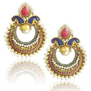 Classic Peacock Meenakari Earrings With Rich Stone And Pearl Work By Adiva Abchi0Baf002