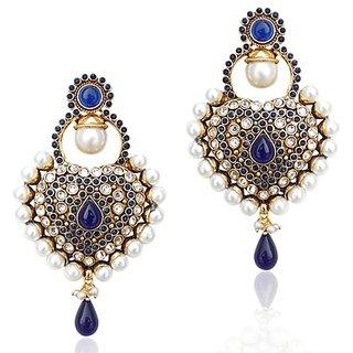 2561438104f Royal Blue Antique Really Ethnic Pearl Polki Mughal Rajputana Earring