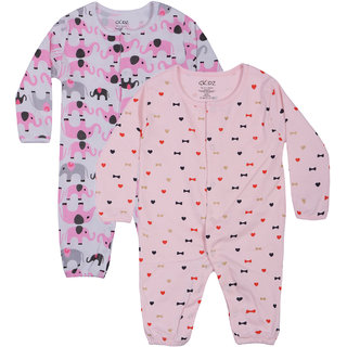 Gkidz Inafants Pack Of 2 Half Sleeve Printed White And Pink Romper