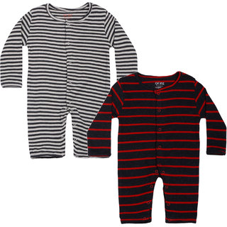 Gkidz Infants Pack Of 2 Striped Full Sleeve Romper