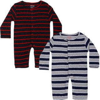 Gkidz Infants Pack Of 2 Striped Full Sleeve Romper