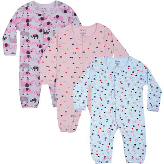 Gkidz Inafants Pack Of 3 Half Sleeve Printed Blue And White Romper