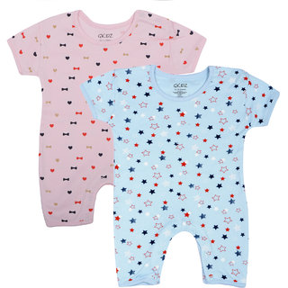 Gkidz Inafants Pack Of 2 Half Sleeve Printed Blue And Pink Romper