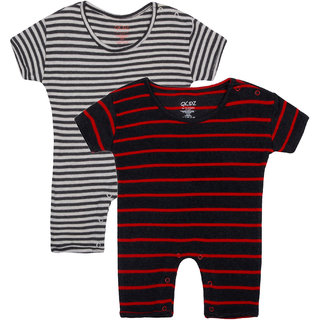 Gkidz Infants Pack Of 2 Striped Half Sleeve Romper