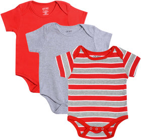 Gkidz Infants Pack Of 3 Striped And Solid Colors Half Sleeve Bodysuits
