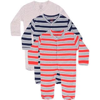 Gkidz Infants Pack Of 3 Striped Design Longsleeve Sleepsuits