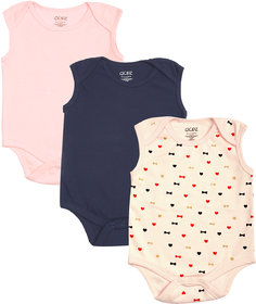 Gkidz Infants Pack Of 3 Multicolor Sleeveless Combo Bodysuits