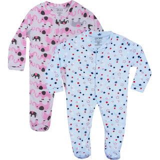 Gkidz Infants Pack Of 2 Printed Blue And White Full Sleeve Romper