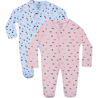 Gkidz Infants Pack Of 2 Printed Blue And White Full Sleeve Romper
