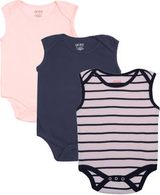 Gkidz Infants Pack Of 3 Striped And Solid Color Sleeveless Bodysuits