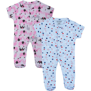 Gkidz Infants Pack Of 2 Printed Blue And White Romper