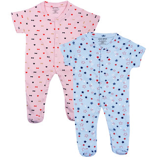 Gkidz Infants Pack Of 2 Printed Blue And Pink Romper