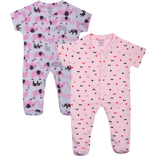 Gkidz Infants Pack Of 2 Printed White And Pink Romper