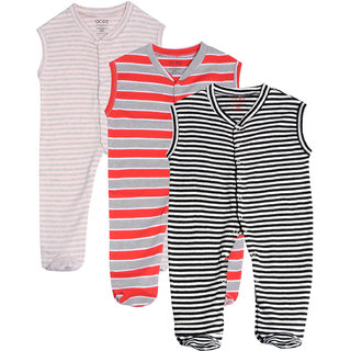 Gkidz Infants Pack Of 3 Striped Sleeveless Sleepsuits