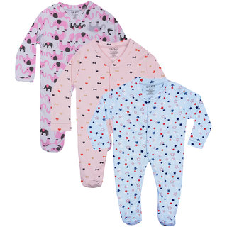 Gkidz Infants Pack Of 2 Printed Blue Pink And White Full Sleeve Romper