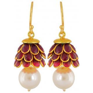 Bhagya lakshmi Gold plated Jewellery Stone Studded Pearl Jhumki Earrings For Women Girls