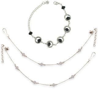White Crystal Anklet  Black Crystal Bracelete Combo by Sparkling Jewellery