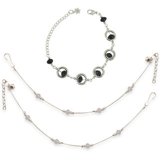 White Crystal Anklet  Black Crystal Bracelete Combo by Sparkling Jewellery