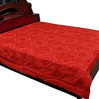 UFC Mart Mirror Work Embroidered Cotton Double Bedcover