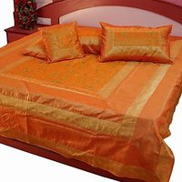 UFC Mart Golden Yellow Silk Double Bed Cover With 4 Pillow Cover