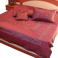 UFC Mart Maroon Silk Double Bedspread Bed Cover With 4 Pillow Cover