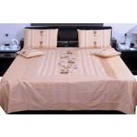 UFC Mart Beige Jaipuri Silk Double Bed Cover With 4 Pillow Cover