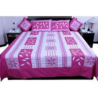 UFC Mart Pink Jaipuri Silk Double Bed Cover With 4 Pillow Cover