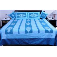 UFC Mart Blue Jaipuri Silk Double Bed Cover With 4 Pillow Cover