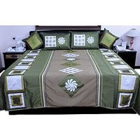 UFC Mart Green Jaipuri Silk Double Bed Cover With 4 Pillow Cover