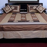 UFC Mart Colorful Embroidered Silk Double Bed Cover Set