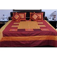 UFC Mart Maroon Orange Silk Double Bed Cover With 4 Pillow Cover