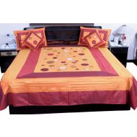UFC Mart Maroon Fancy Silk Double Bed Spread With 4 Pillow Cover