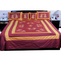 UFC Mart Maroon Orange Silk Double Bed Spread With 4 Pillow Cover