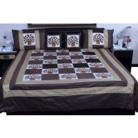 UFC Mart Brown Designer Silk Double Bed Cover With 4 Pillow Cover