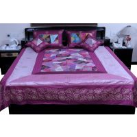 UFC Mart Urbane Jaipuri Magenta Silk Double Bed Cover With 4 Pillow Cover