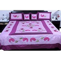 UFC Mart Embroidered Silk Double Bed Cover With 4 Pillow Cover
