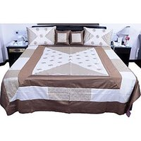 UFC Mart Cream Brown Silk Double Bed Cover With 4 Pillow Cover