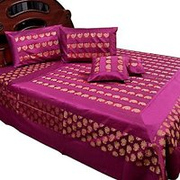 UFC Mart Banarasi Magenta Silk Double Bed Cover And Cushion Cover