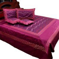 UFC Mart New Designer Magenta Silk Double Bedcover Set