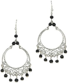 Black Beads Silver Plated Earring by Sparkling Jewellery