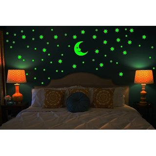 Star And Moon Glow In The Dark Wall Stickers And Stickers