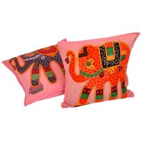 UFC Mart Hand Embroidered Patchwork Cushion Cover Pair