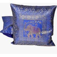 UFC Mart Blue Jacquard Fine Silk Cushion Cover 2Pc. Set