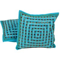 UFC Mart Turquoise Mirror Lace Work Cushion Cover Pair