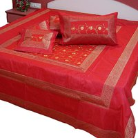 UFC Mart Red Jaipuri Silk Double Bed Cover With 4 Pillow Cover