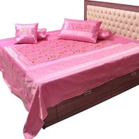 UFC Mart Pink Embroidered Silk Double Bed Cover With 4 Pillow Cover